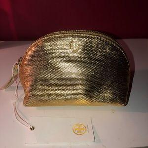 Gold Tory Burch Makeup Bag
